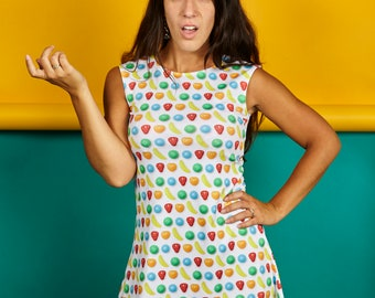 IN STOCK- ADULT dress, clothing, fabric, image food, photo, kitchen, funny, humor, comedy, polyester, spandex, candy, candy