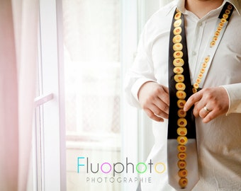 Funny tie, fabric tie, colorful man accessory, man gift, men's clothing, olive tie, food tie, humor tie