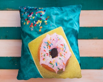 IN STOCK - Square cushion, square pillow, soft, cushion fabric, food image, photo, kitchen, funny, pillow case, donut, turquoise, pink