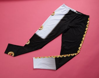 IN STOCK- ADULTE leggings, clothing, fabric, food image, photo, kitchen, funny, humor, comic, white, black, olive