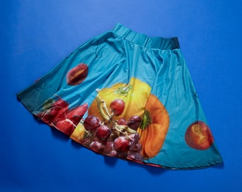 IN STOCK - Skirt, clothing, fabric, food image, photo, photography, cooking, funny, humor, comic, blue, polyester, sea, fruit, boat
