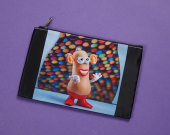 Make-up pouch, case, cosmetic kit, chest pencils, food image, photo, kitchen, funny, makeup bag, blue, peas, potato lady