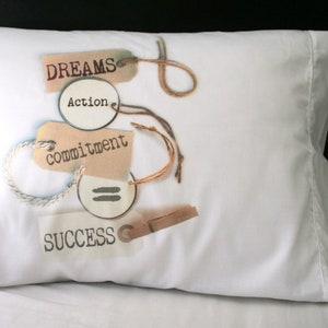 = Success empowerment Pillow case Commitment Action motivation pillows love- Dreams Home Decor
