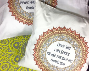 Ho'oponopono Prayer. I Love You,  I'm Sorry,  Please Forgive Me,  Thank you. Pillowcase and Pillows: Decorative, Accent and Throw.