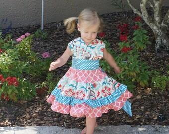 Coral and Auqa Abernathy Floral Crisscross Twirl Dress