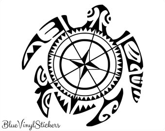 9d930d67f Compass Decal, Sea Turtle Decal, Polynesian Decal, Polynesian Tattoo, Sea  Turtle Sticker, Hawaiian Sea Turtle, Hawaiian Decal, Car Window