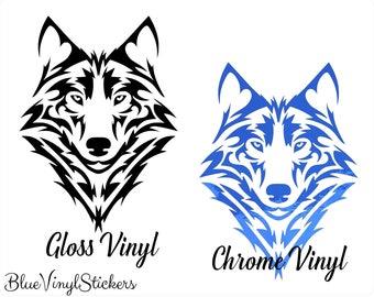 10f3a0a57 Tribal Wolf Decal, Tribal Wolf Portrait, Tribal Wolf Sticker, Vinyl Wolf  Decal, Chrome Vinyl Decal, Chrome Vinyl Sticker, Laptop Decal, Wolf