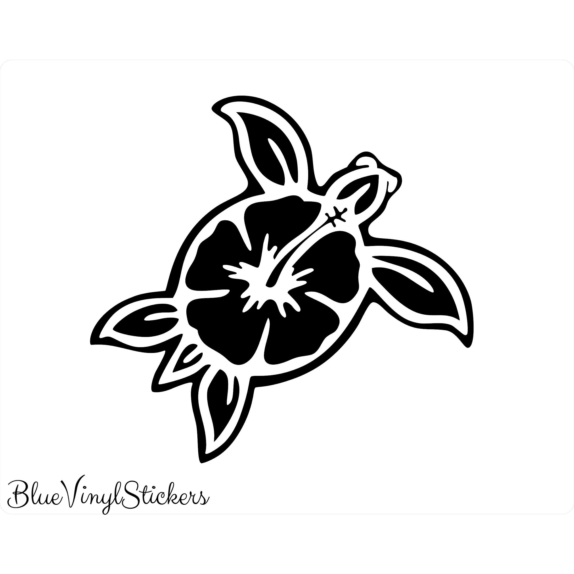 Island Life with Sea Turtle and Hibiscus vinyl decal//sticker country