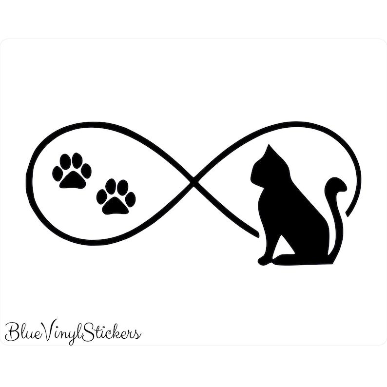 Infinity love cat pet sticker vinyl decal car window doors bumper laptop
