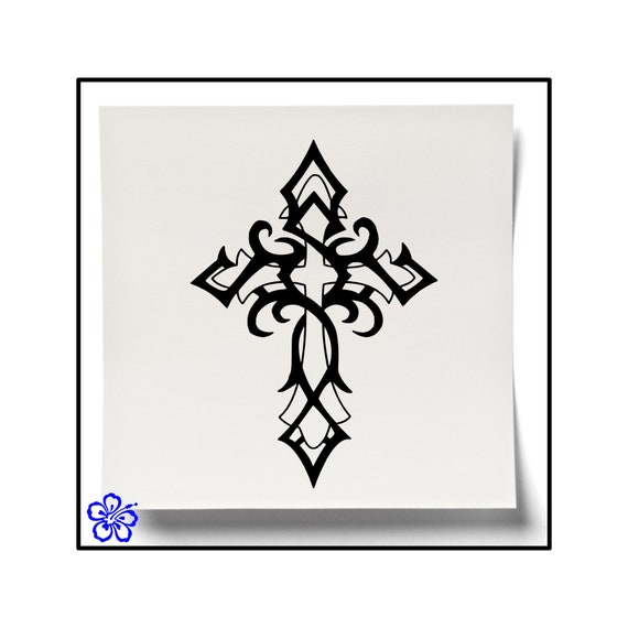 Tribal Cross Decal Tribal Cross Sticker Religious Decal Etsy