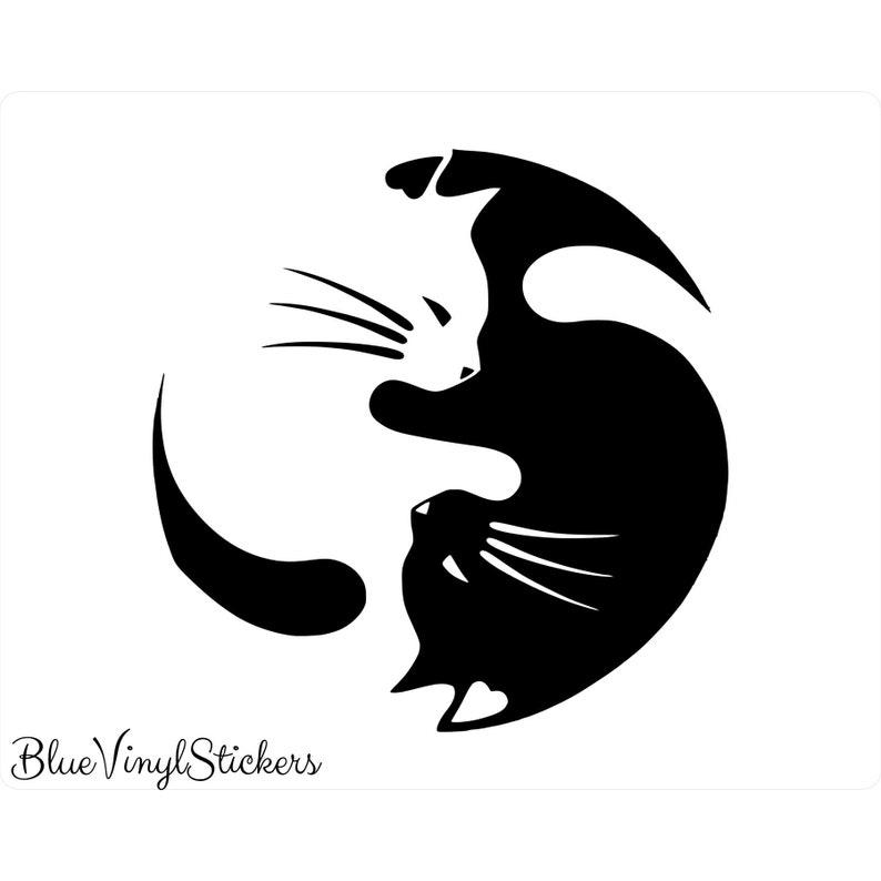 Yin Yang Cats, Yin Yang Sticker, Yin Yang Decal, Cat Decal, Cat Sticker,  Pet Sticker, Pet Decal, Good and Bad, Good and Evil, Vinyl Decal