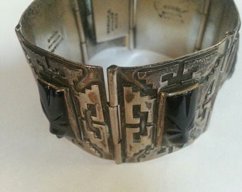 Anitqued Silver Panel Bracelet Carved Face Signed Mexican Tribal Mask Aztec Warrior Face Southwest Cowgirl Western Statement Sundance Rustic