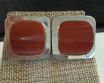 Vintage Sterling Elaine Rose Large Sq Modern ClipOn Earrings w/Soft-Cornered Sq Cabochon Burnt-Orange Jasper Bezel-set Stepped Down to Plane