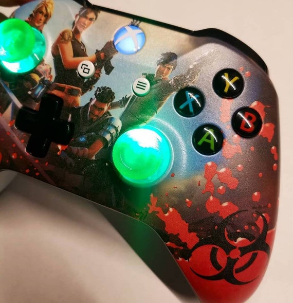 Custom Fortnite Themed New Wireless Xboxone Controller Green Led Thumbstix Made To Order