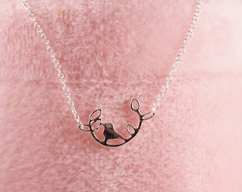 Bird on Branch Necklace Silver/ Gold Plated Free Gift Box