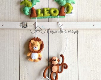 Poster name in felt for children, infant wreath