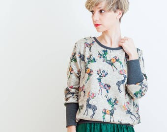 SOLD OUT! Floral deer print jumper, exclusive women's jumper, deer blouse, handmade