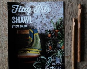 Flag Iris Shawl ~ PRINT COPY ~ Simple Crochet Shawl Pattern