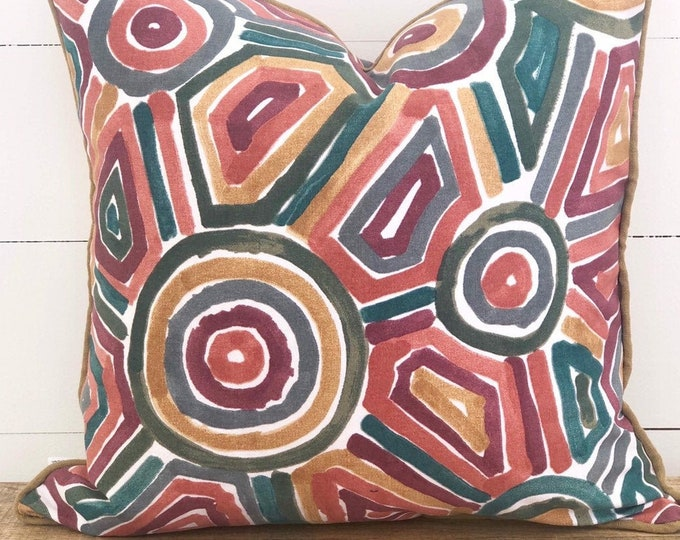 Cushion Cover - Cinnabar Cushion Cover with mustard linen piping