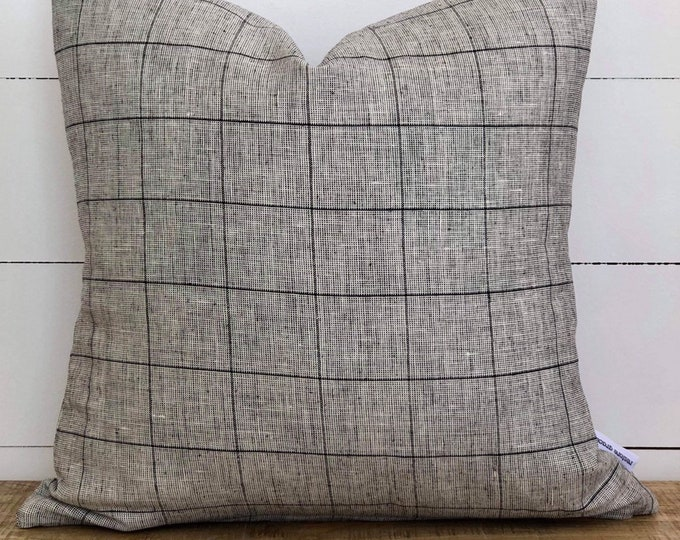 Cushion Cover - Grid Linen