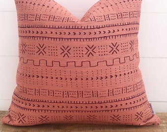 SALE - Cushion Cover -Peach Mudcloth Woven Cushion Cover