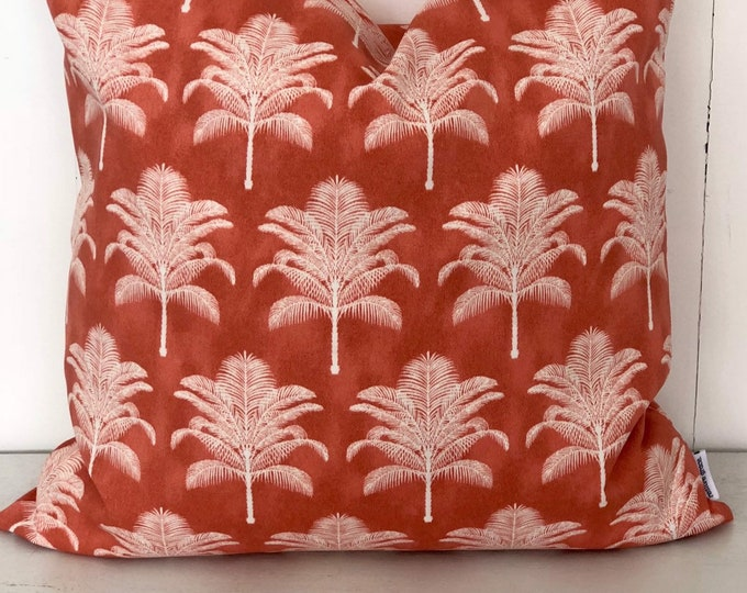 CLEARANCE - Coral Californian Palms Indoor/Outdoor Cushion Cover