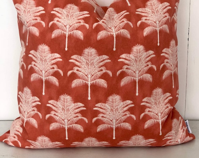 SALE - Coral Californian Palms Indoor/Outdoor Cushion Cover
