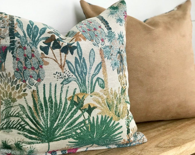 Hillside Jungle Cushion Cover with Sand Vintage Suede Back