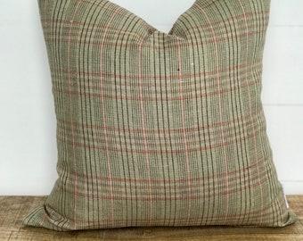 Green & Pink Plaid 100% European Linen Cushion Cover