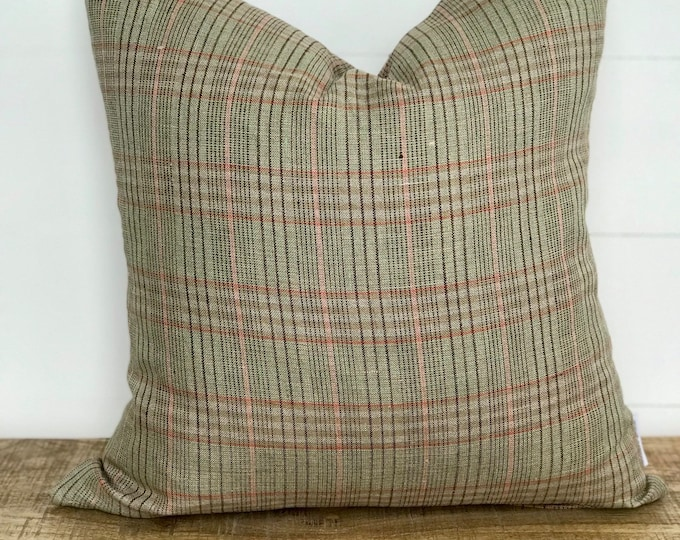 Green & Pink Plaid 100% European Linen Cushion Cover