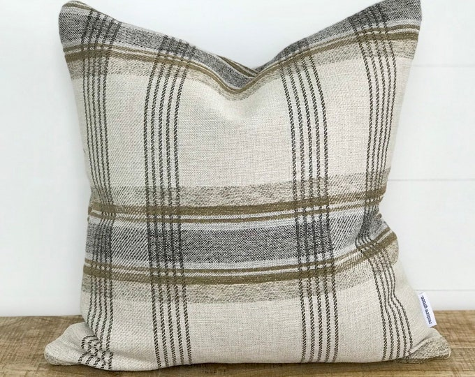 Toast Plaid Basketweave Cushion Cover