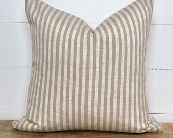 Taupe Scout Stripe Cushion Cover