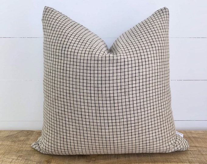 Grey Check 100% European Linen Cushion Cover
