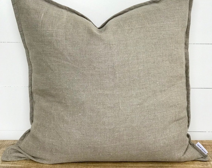 Cushion Cover - Natural 100% Washed European Linen with Flange
