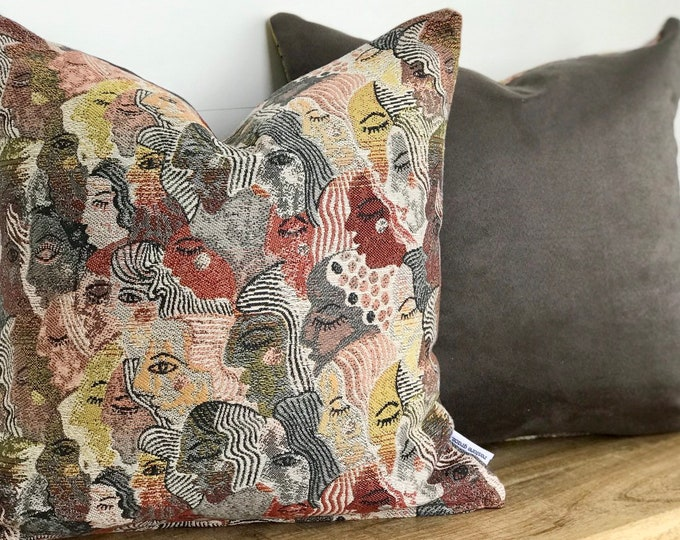 Folksy Faces Cushion Cover with Charcoal Vintage Suede Back
