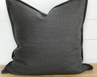 Cushion Cover - Charcoal 100% Washed European Linen with Flange
