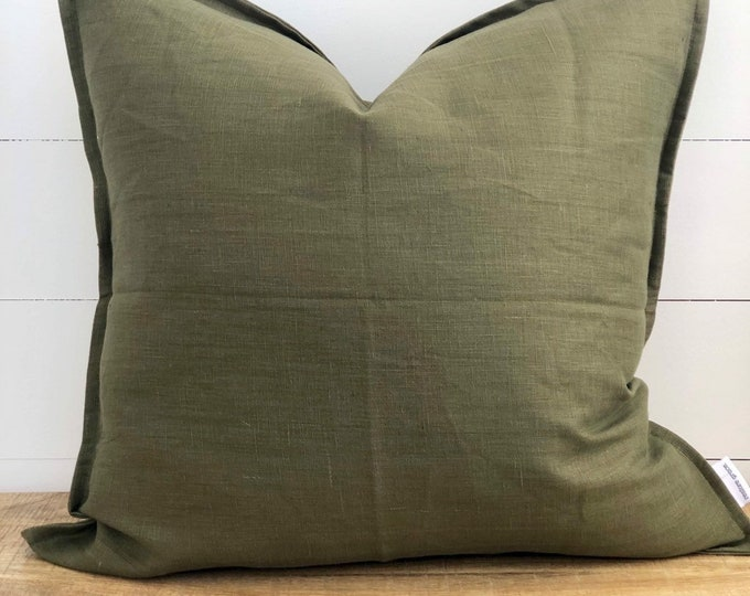 Fig 100% Washed European Linen Cushion Cover with Flange