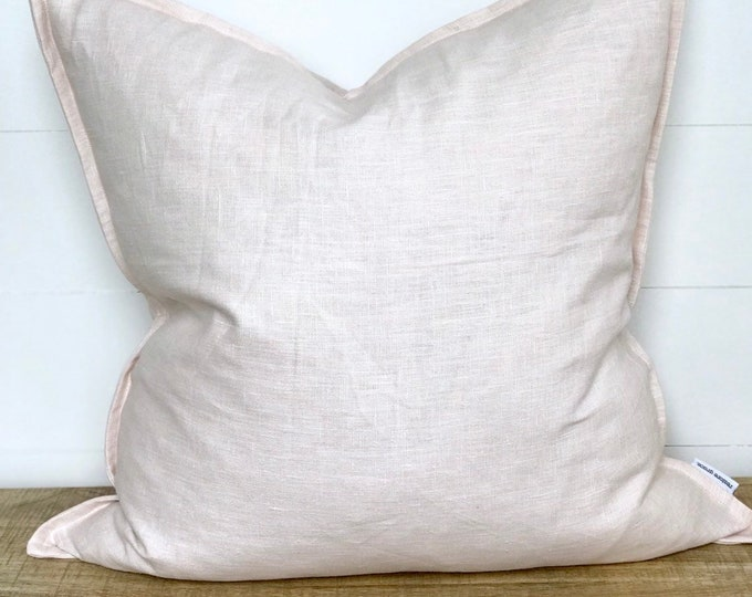 Pink 100% Washed European Linen Cushion Cover