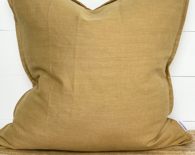 Camel 100% Washed European Linen Cushion Cover