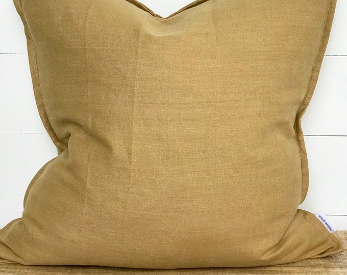 Cushion Cover - Mustard 100% Washed European Linen with Flange
