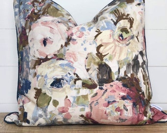 Cushion Cover - Peony With Navy Linen Piping