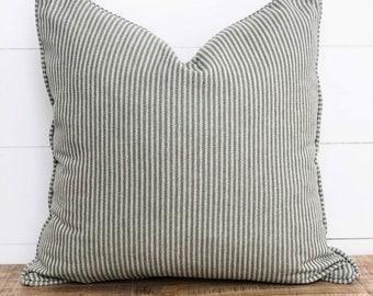 Cushion Cover - Pine Herringbone Stripe with piping