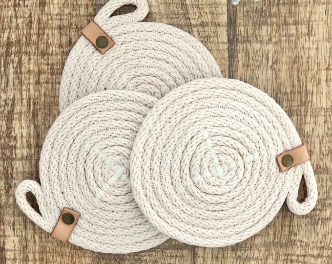 Rope Coaster with Tan leather strap