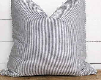 Cushion Cover - Black Pencil stripe with piping
