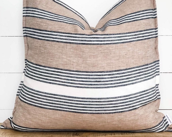 Cushion Cover - Striped Linen with Flange