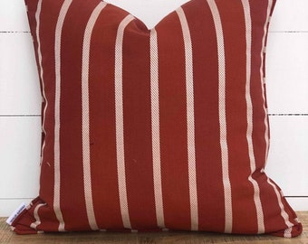 Outdoor Cushion Cover - Terracotta and White Stripe with White Piping