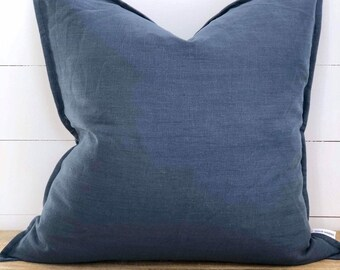 Cushion Cover - Navy 100% Washed European Linen with Flange