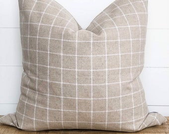 Cushion Cover - Natural Linen Check