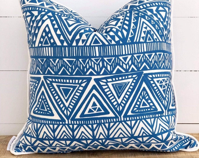 Outdoor Cushion Cover - Blue Aztec with White Piping