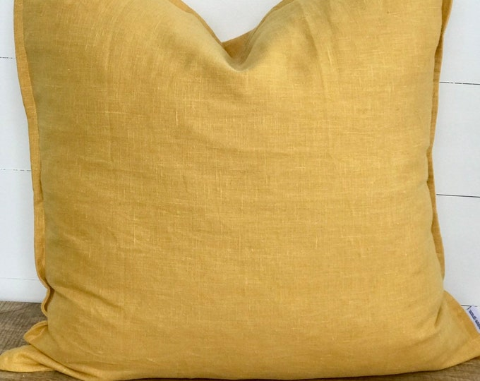 Mustard 100% Washed European Linen Cushion Cover